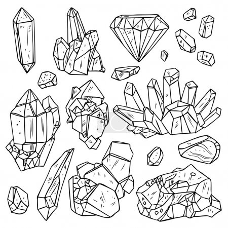 Hand Drawn Crystals And Minerals