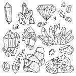 Set Of Hand Drawn Crystals And Minerals. Trendy Hi...