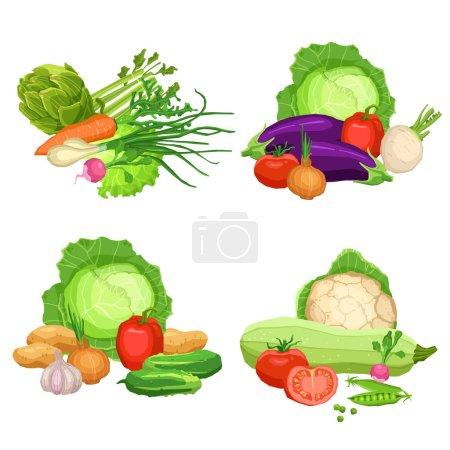 Illustration pour Collection de légumes frais plats, Nature morte Illustrations de légumes, concept d'alimentation saine et végétarienne - image libre de droit