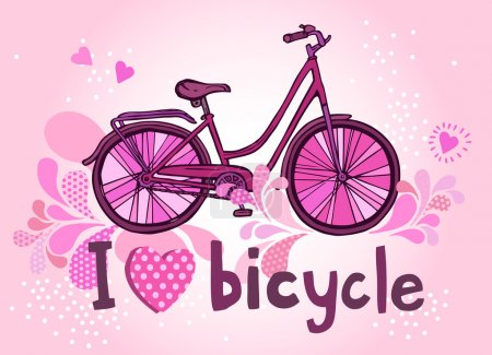 funny pink bicycle with text