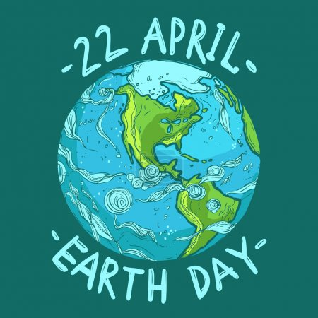 Illustration for Hand drawn ecological Earth Day poster, 22 April - Royalty Free Image