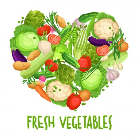 Heart made by different vegetables