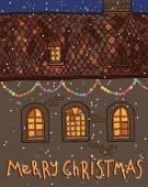 Boldog karácsonyi ház éjjel