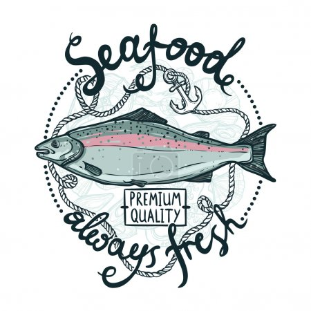 Fresh Seafood Poster With Salmon