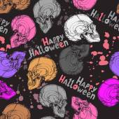 Seamless halloween pattern with color skulls text and blots