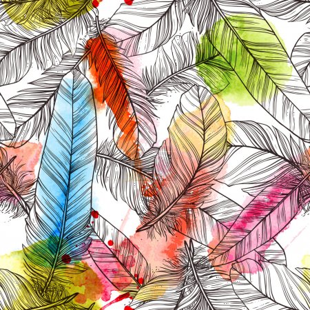 Illustration for Seamless pattern with hand drawn feathers with watercolor splatters - Royalty Free Image