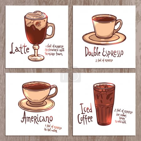 cups of different kinds of coffee