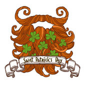 St Patrick's day greeting red beard with clovers and vintage ribbon banner with congratulation