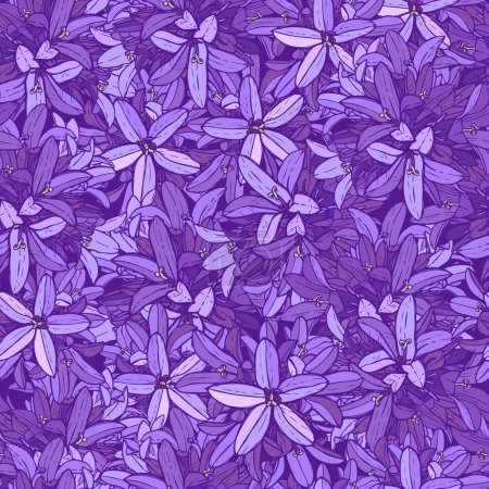 Illustration for Violet flowers pattern, purple floral background - Royalty Free Image