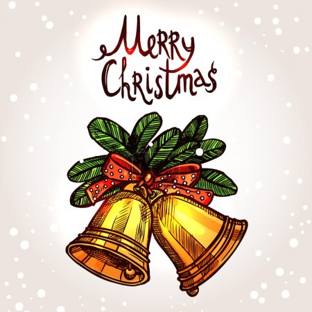 Illustration for Christmas Card With Hand Drawn Golden Bells - Royalty Free Image