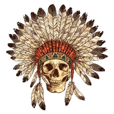 Headdress With Human Skull