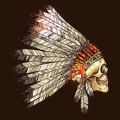 Vector Color Illustration of Hand Drawn Native American Indian Headdress With Human Skull