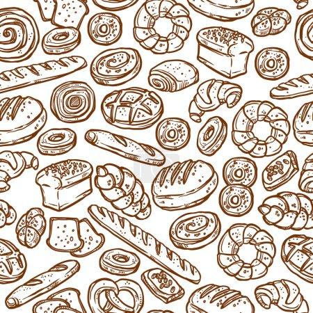 Illustration pour Croquis de boulangerie Modèle sans couture isolé sur fond blanc, Illustration vectorielle - image libre de droit