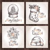 Christmas Cards Collection On Wood Background Vector illustration