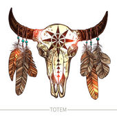 Buffalo Skull With Feathers isolated on white background Native American Totem Vector illustration