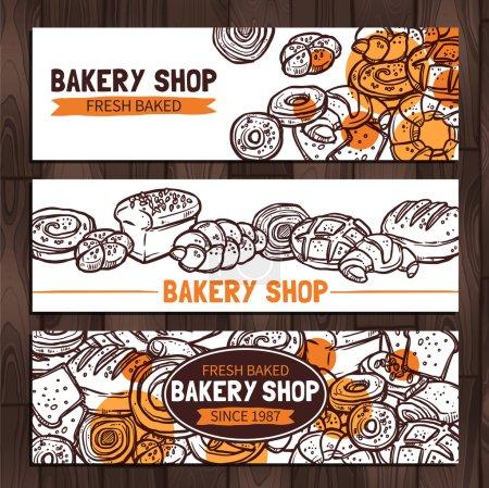 Illustration pour Boulangerie Design. Bannières de boulangerie de croquis, illustration vectorielle - image libre de droit