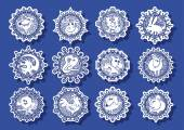 Characters Chinese zodiac signs in the snowflake