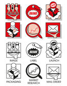 Line icons set with flat design elements of marketing and distribution of goods and products Modern vector pictogram collection concept Set 02