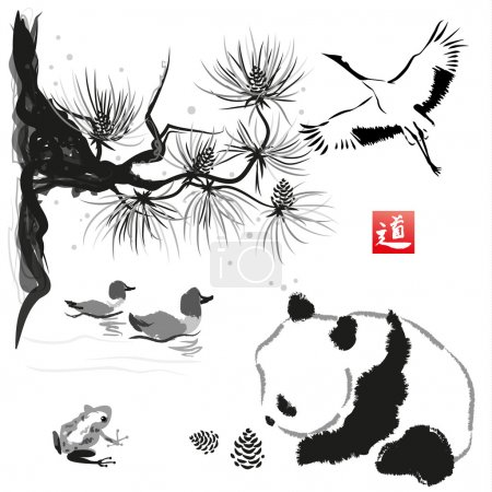 "Illustration for Card with cedar in the bird and panda bear. Hand-drawn with ink. Traditional Japanese painting. Vector illustration. Hieroglyph "" way"" - Royalty Free Image"