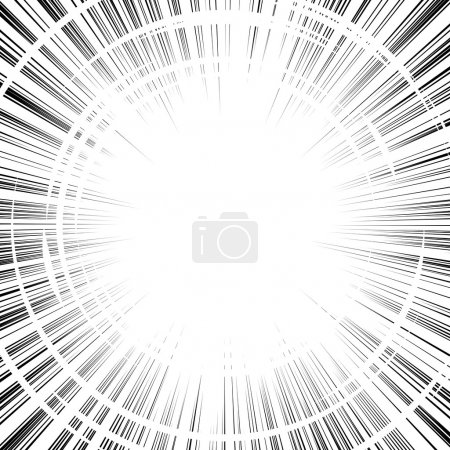 Illustration for Comic book black and white radial lines background Square fight stamp for card Manga or anime speed graphic ink texture Superhero action frame Explosion vector illustration Sun ray or star burst element - Royalty Free Image