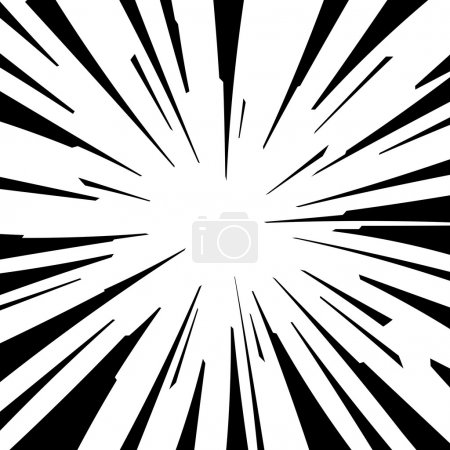 Illustration for Comic book black and white radial lines background Square fight stamp for card Manga or anime speed graphic texture Superhero action frame Explosion vector illustration Sun ray or star burst element - Royalty Free Image