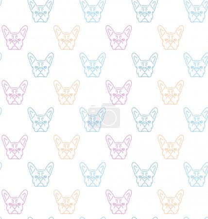 Seamless colorful pattern with frech bulldog.