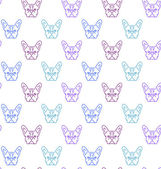 Seamless colorful pattern with frech bulldog