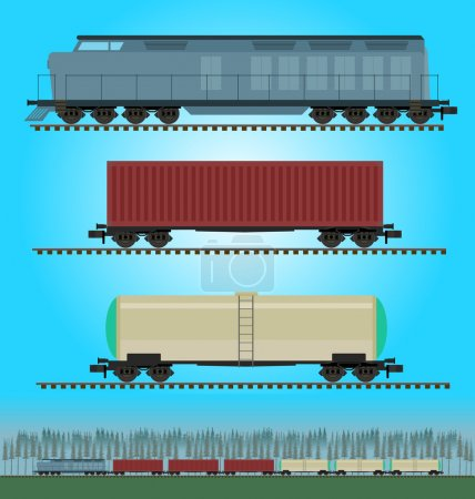 Set of freight train cargo cars. Container, tank, hopper and box