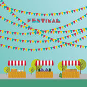 Tent on the market farm products wine and grapes lemonade and lemons in wooden box Market place Festival Flags outdoor