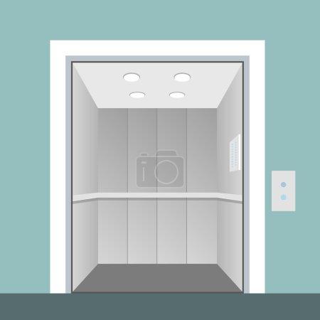 Elevator with opened door in vector...