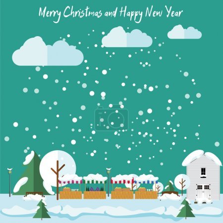Winter in the city, it is snowing, Christmas Fair. Christmas and New Year card in flat style