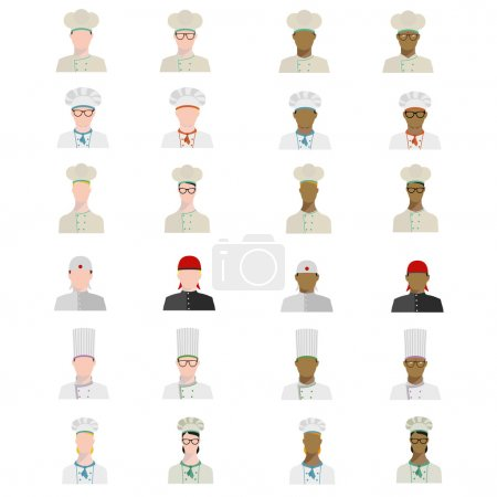 Set of chefs in different uniforms of different races in flat