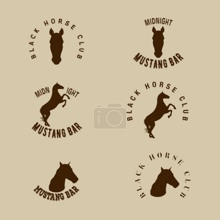 Hipster logotype with silhouette of hors