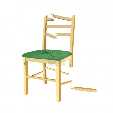 Illustration for Broken wooden chair with green seat - Royalty Free Image