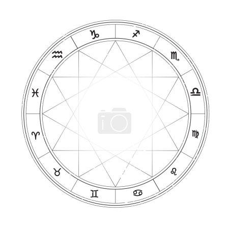 Illustration for Zodiac wheel monochrome, horoscope chart - Royalty Free Image