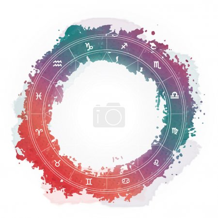 Illustration for Zodiac wheel monochrome, horoscope chart - Royalty Free Image