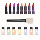 Set of realistic colored lipsticks brush for powder and nail polish on white wooden table