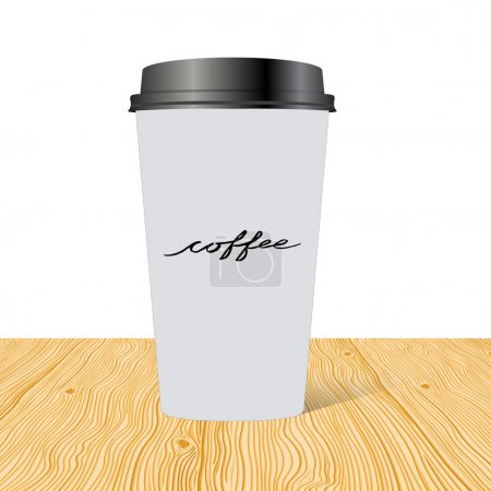 Plastic cup of coffee with hand drawn inscription: Coffee