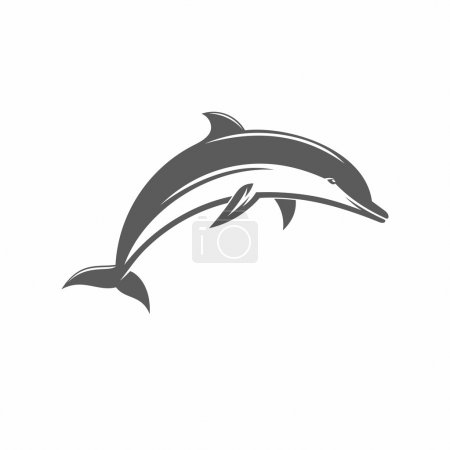 Black and white vector ilstration jumping dolphins