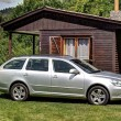 Silver car by the wooden hut...