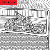 Coloring cat page for adults Mama cat and her kitten sitting in a box  Hand drawn illustration with patterns
