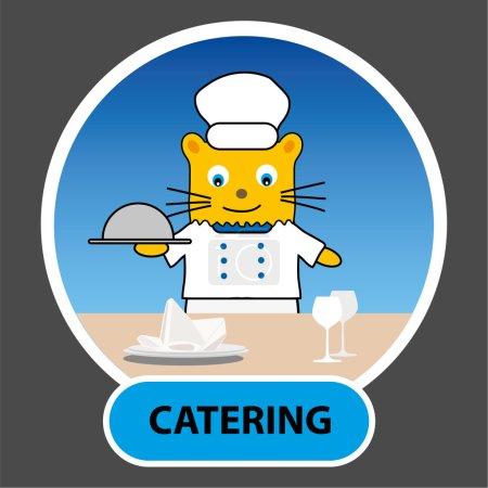 Illustration pour Personnage de dessin animé - cuisinier chat avec un plateau posé sur la table, vecteur, profession, restauration, tutoriel d'illustration pour les enfants - image libre de droit