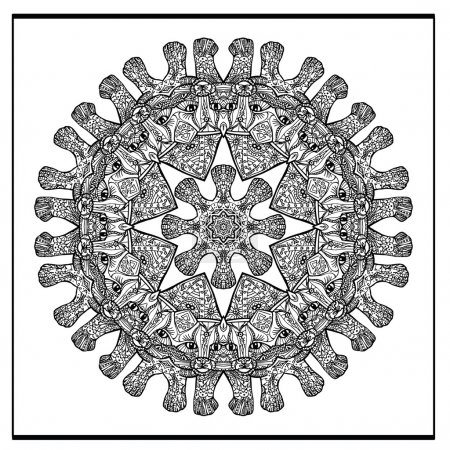 Zentangle cat  mandala - coloring book page for adults, relax