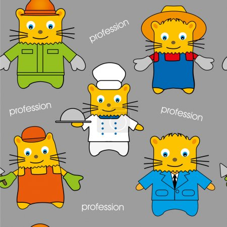 Seamless of cats of different professions, hand-drawn pattern, kid background