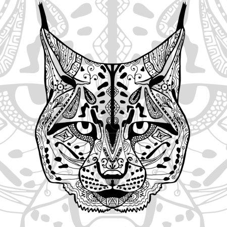 Illustration pour L'imprimé lynx noir et blanc avec des motifs ethniques en zentangle. Livre à colorier pour adultes antistress. Art thérapie, zénart, méditation. L'image sur le tissu, tatouage - image libre de droit