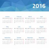 European calendar for 2016 year Vector design template with polygonal picture