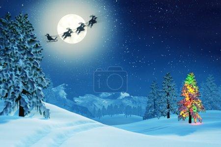 Árbol de Navidad y Santa en el paisaje de invierno a la luz de la luna por la noche
