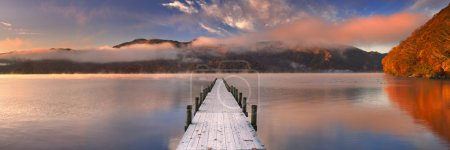 Jetty in Lake Chuzenji, Japan at sunrise in autumn