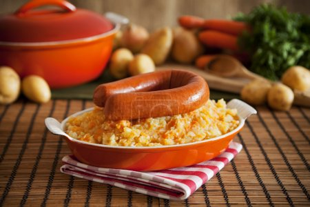 Dutch food: mashed potatoes, carrots and onions or 'Hutspot'