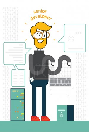 programmer tests new operative system and dreams about lovely kitten, dreaming about fish. vector colorful illustration